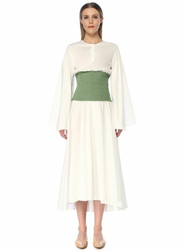 Loewe Loewe   Beli Büzgü Detaylı Midi Elbise 101481762 Beyaz
